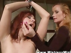 tall lezdom bitch goddess permeates sub with