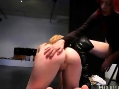 golden-haired hottie spanked and fastened in