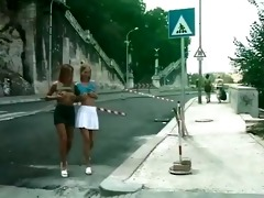 5 gorgeous sexy lesbian babes in public
