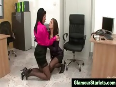 hot dressed european office lesbos