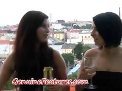 lustful lesbian babes have joy during backstage