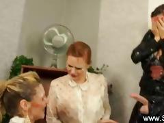 three pretty lesbian babes play bukkake games