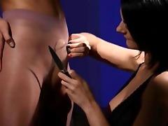 slutty brunette hair sucking penis of rubber