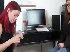 redhead worships feet of the boss