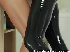 perverted feeldoe fuck in dark latex