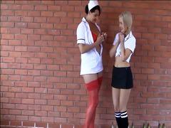 breasty nurse seducing the virginal schoolgirl