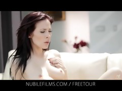 nubile films - lesbo lovers share sweet wet crack