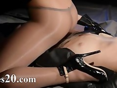 blindfolded model acquires fuck by thong on