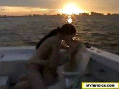 8 hot lesbians making out on a boat