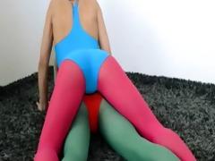 hirsute lesbian babes in nylon nylons loving