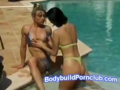 muscular lesbo blond and girlfriend by the