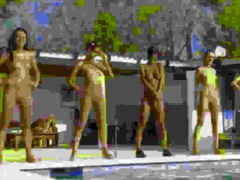 six bare angels by the pool from france