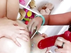 luxury anal dildoing of sexy lesbs