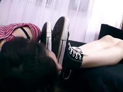 lesbo bondman worshiping shoes, socks and feet!