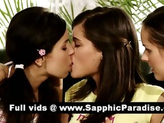sexy dark brown lesbos giving a kiss and getting