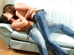 dark brown lesbo women in jeans having beauty on