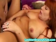 sexy golden-haired granny fucks her redhead aged