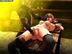 bound up animated chick gets fingered