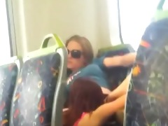 hawt lesbos eating love tunnel on the public bus