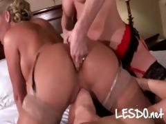 breasty lesbos licks every others
