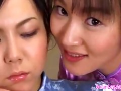 bound oriental lesbo made to kiss