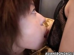 oriental lesbian babes in wax and rope slavery
