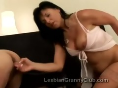 older lezzie finger copulates old blonde lady on
