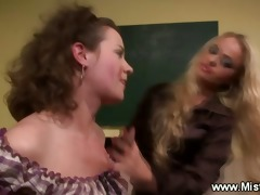 femdom teacher sucks student nipps in classroom