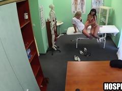 brunette hair lesbian patient licks the nurses