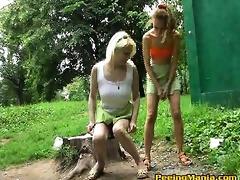 fair cuties in minis make a pee outdoors