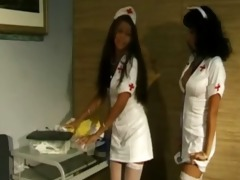 lesbo nurses take up with the tongue snatches